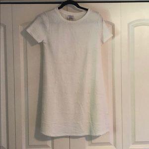 Zara White Textured Cotton T-Shirt Dress